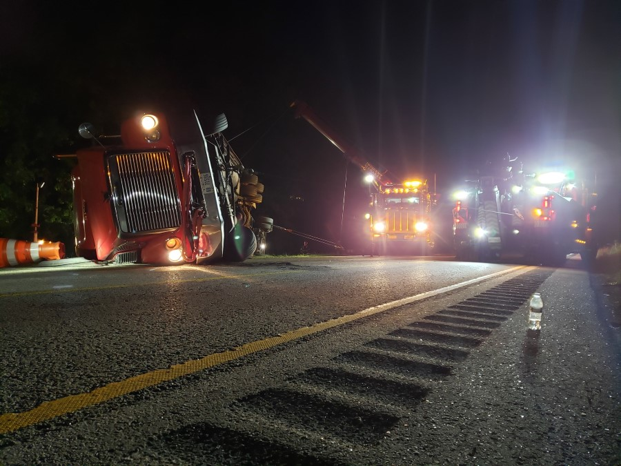 nighttime recovery of truck
